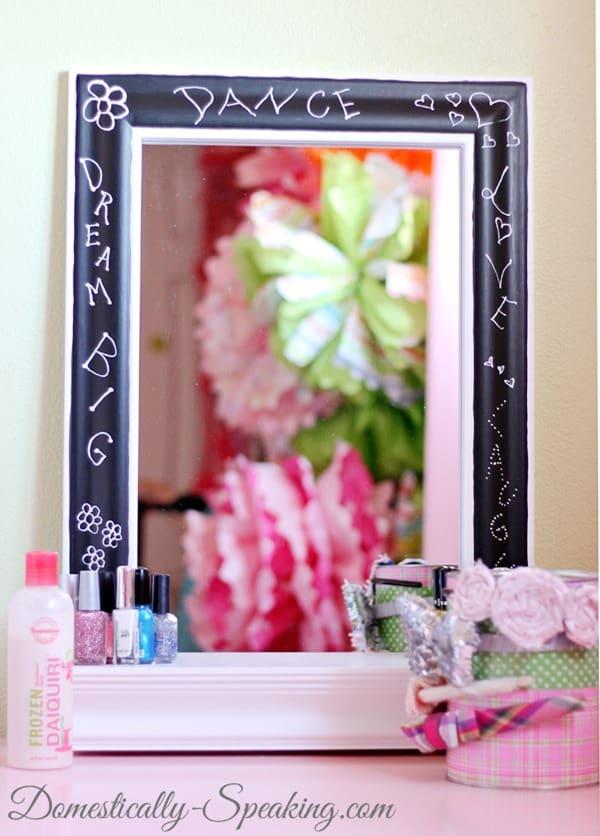 mirror, paint, chalkboard, vanity, marker
