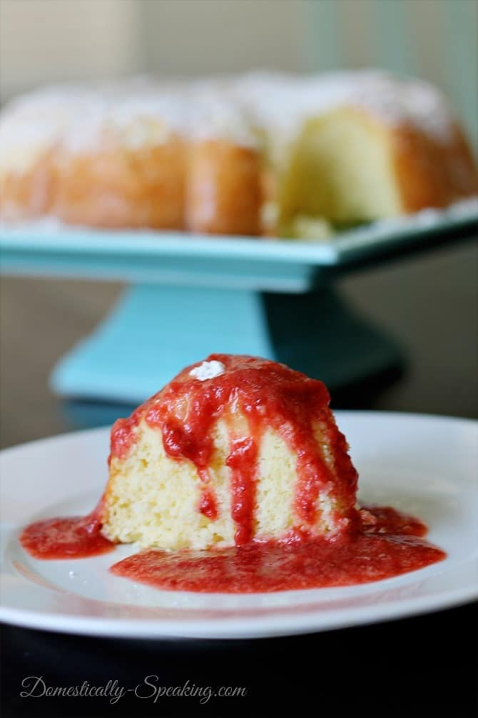 Lemon Sponge Cake with Strawberry Syrup