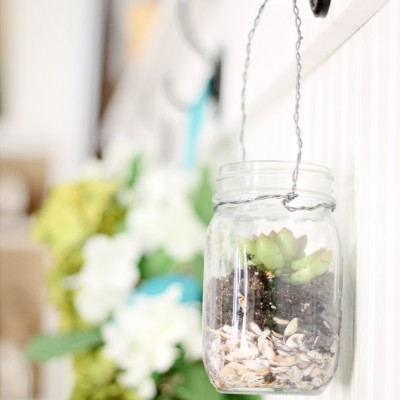 Hanging Mason Jar Succulents