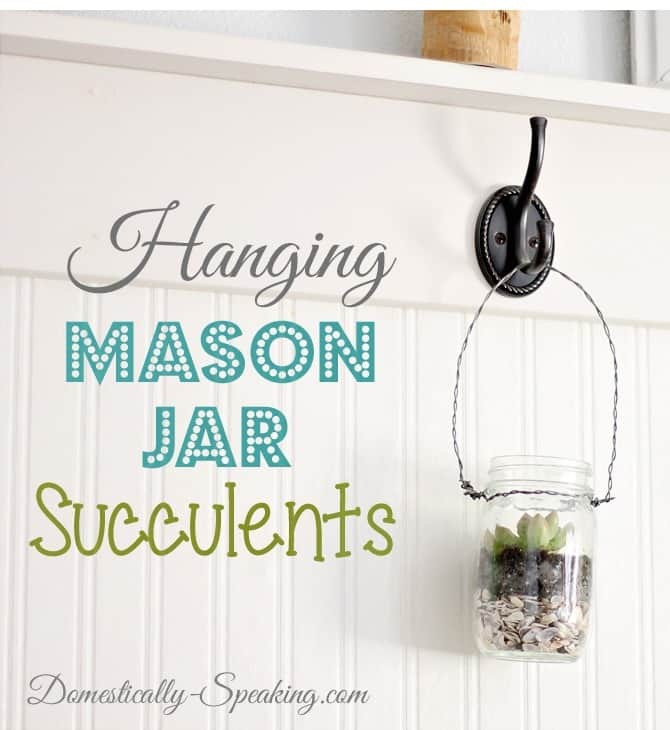 Hanging Mason Jar Succulents Tutorial