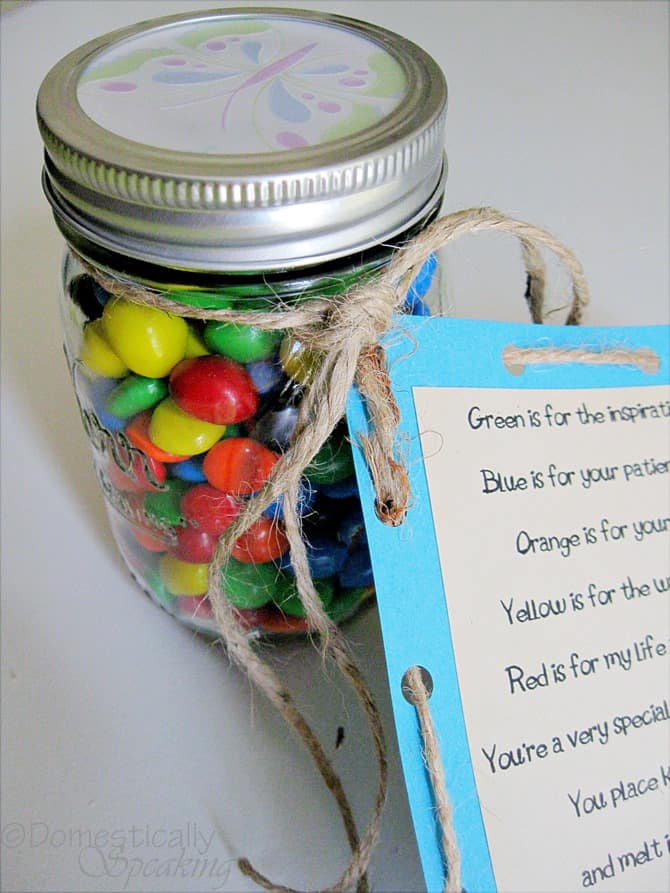 M & M Teacher Gift with Poem @ Domestically-Speaking.com