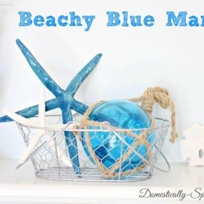Beachy Blue Summer Mantel