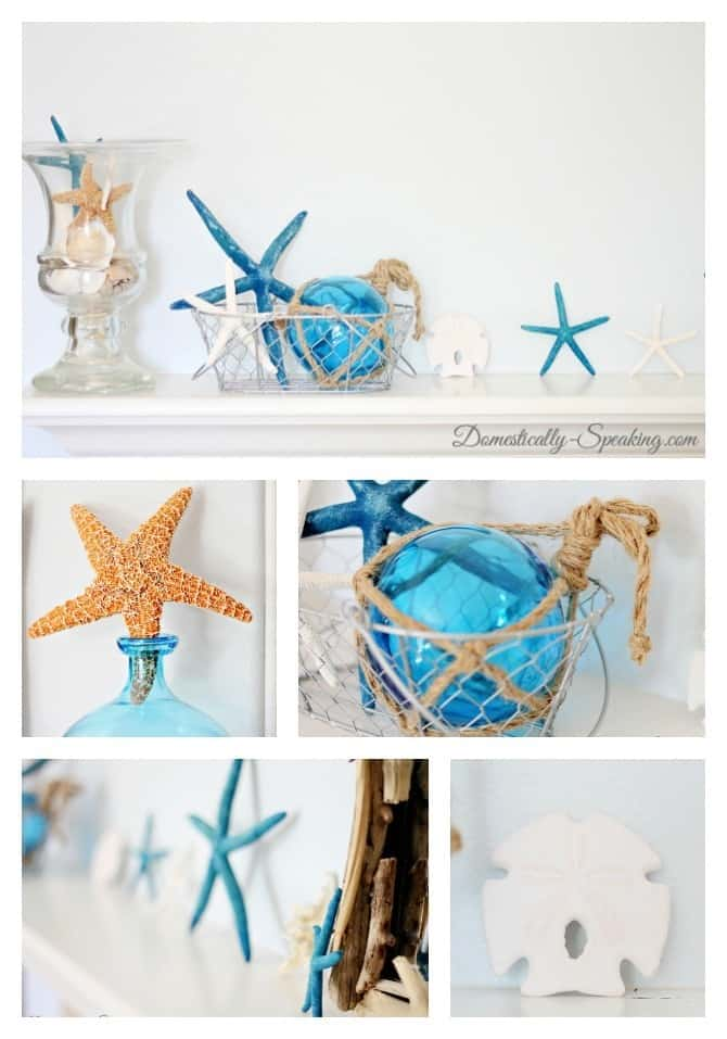 beach, summer, mantel, shells, starfish, sand dollars, driftwood