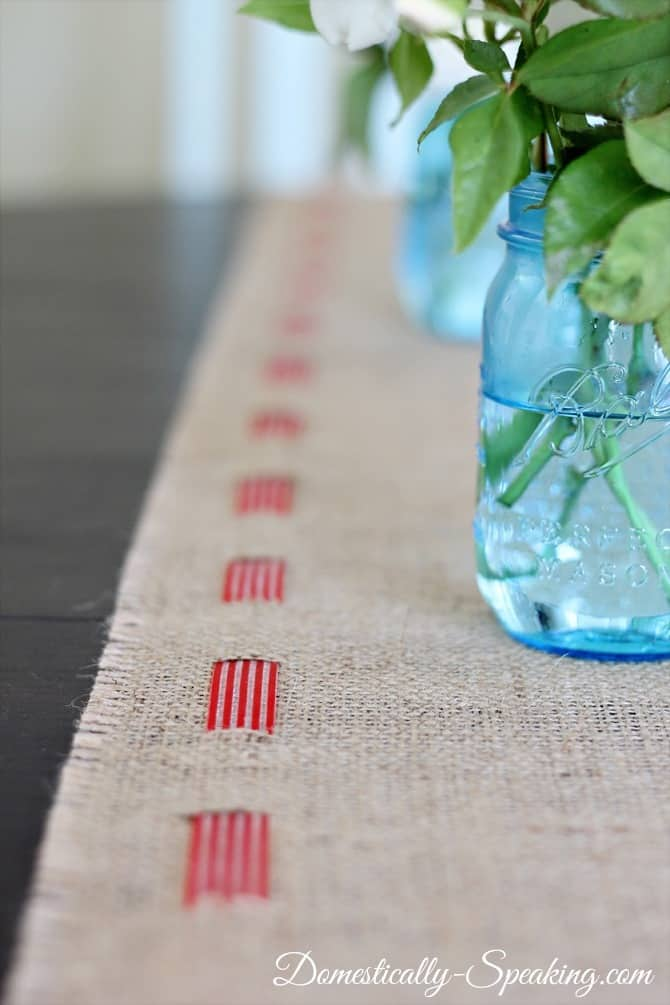 Patriotic Burlap Runner: burlap, ribbon, red, blue, 4th of July