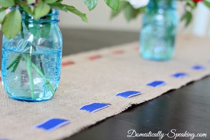 Patriotic Burlap Runner: burlap, ribbon, 4th of July
