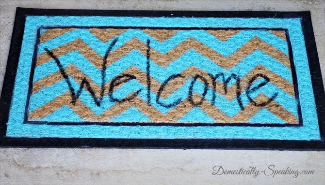 Painted Chevron Welcome Mat