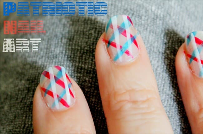 Patriotic Plaid Nail Art