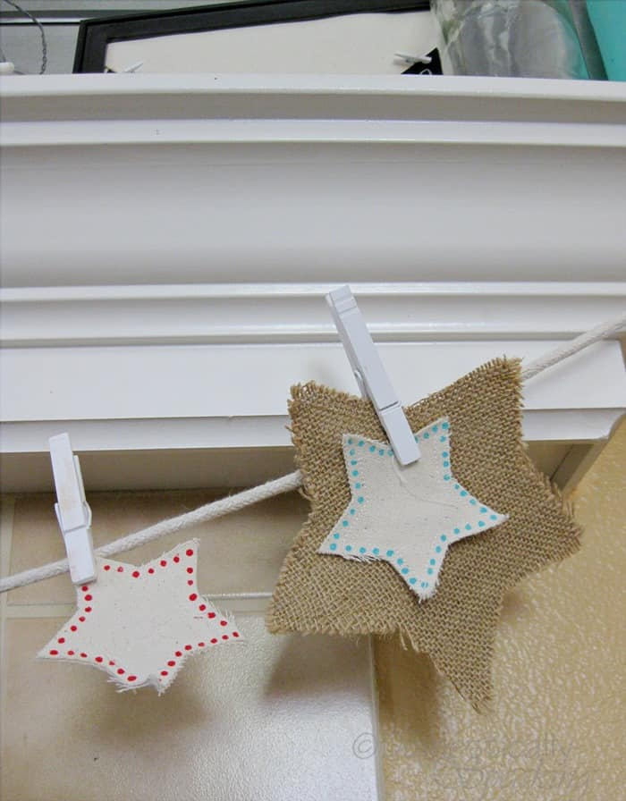 Burlap and Canvas Star Banner