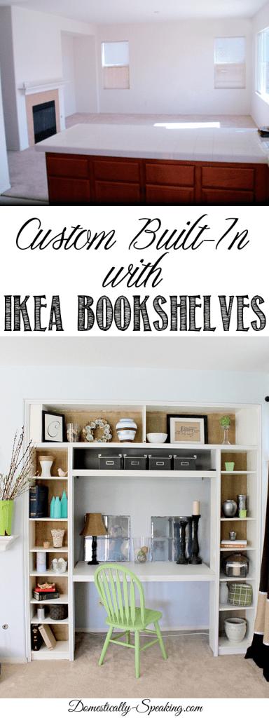 DIY Custom Built-In with Ikea Bookshelves