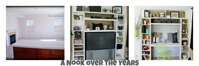 Nook upgrade, bookshelves, built-in