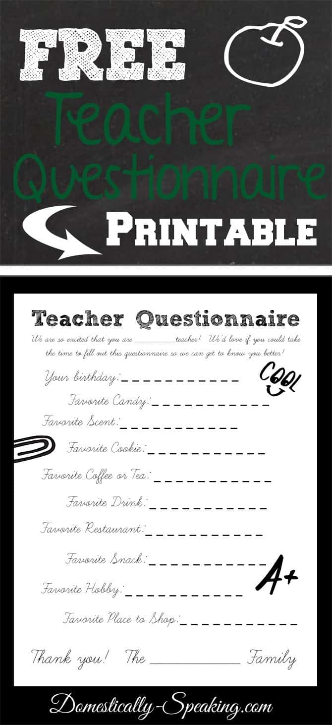 Teacher Questionnaire Printable - Domestically Speaking