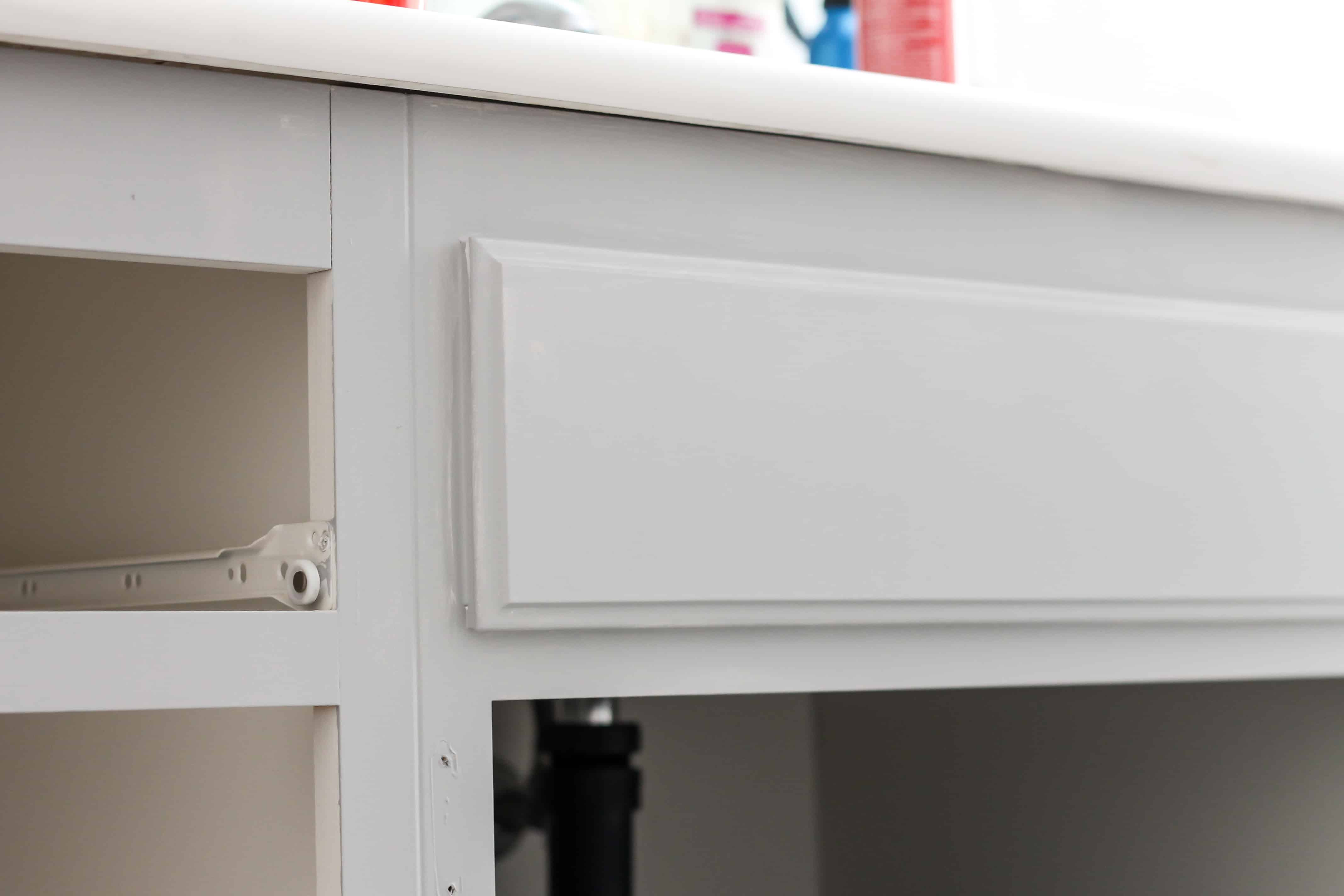 Builder Boring to Gorgeous Gray Cabinets - Domestically Speaking