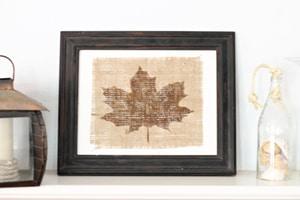 Burlap Painted Leaf