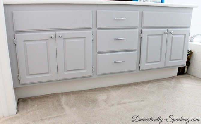 Master Bath Cabinets painted a gorgeous gray