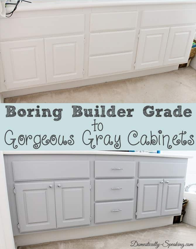 Boring Builder to Gorgeous Gray Cabinets #paint #gray #bathroomcabinets
