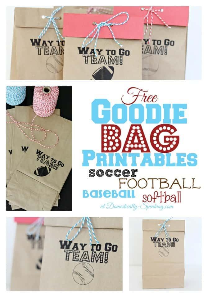 Goodie Bag Printable - FREE