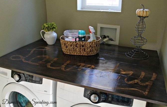 Pine Wood Laundry Countertop - Domestically Speaking