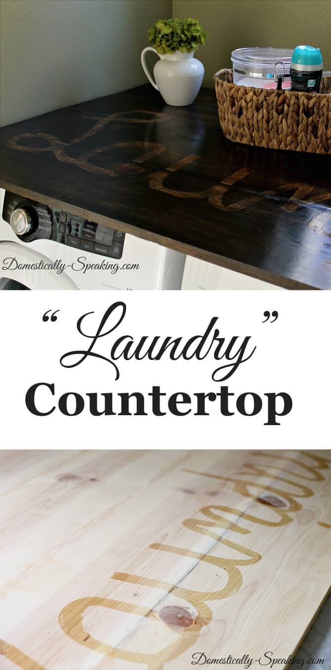 "Creating a ""Laundry"" countertop with pine boards with a fun writing in stain trick"