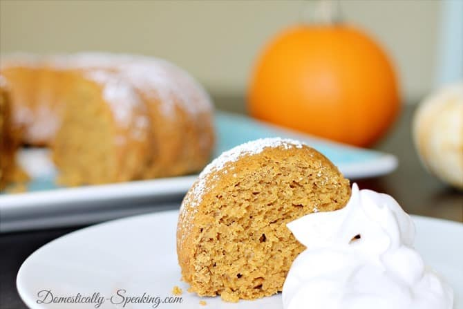 3 Ingredient Pumpkin Spice Cake with Cinnamon Whipped Topping