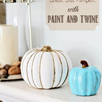 Painted Pumpkin with Twine