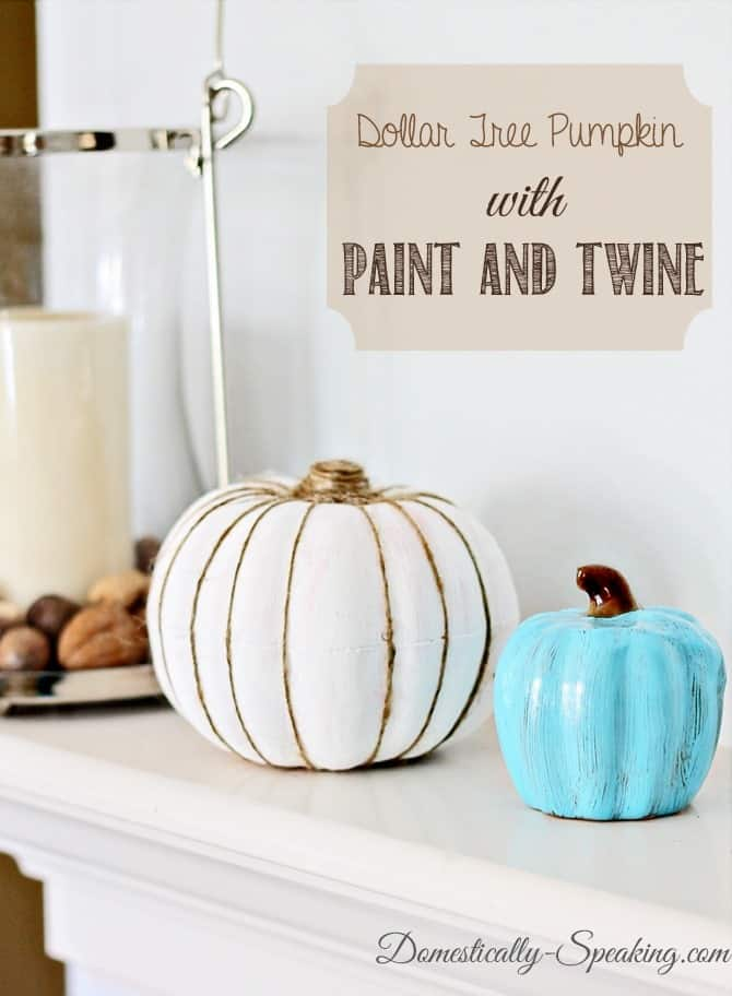Dollar Tree Pumpkin with Paint and Twine