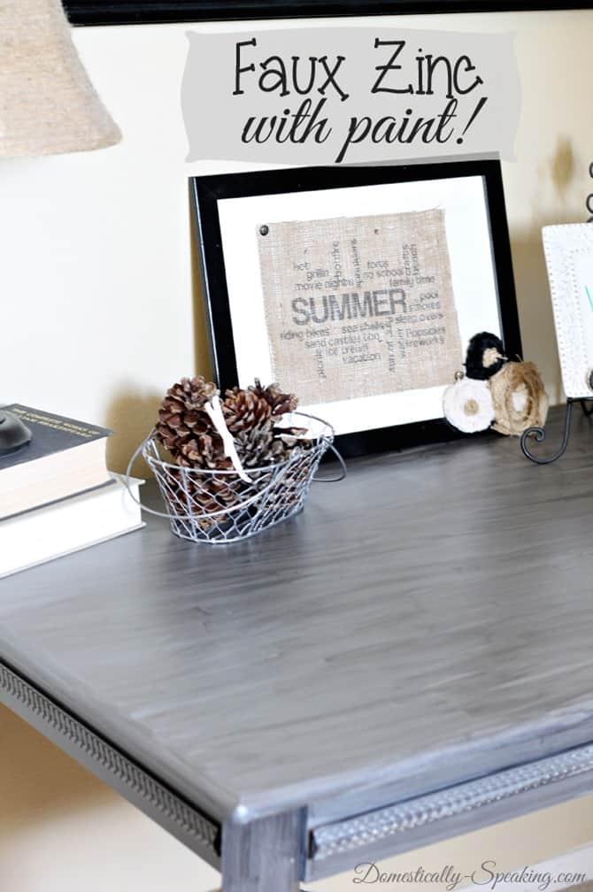 Updaing a desk with acrylic paint - ZINC