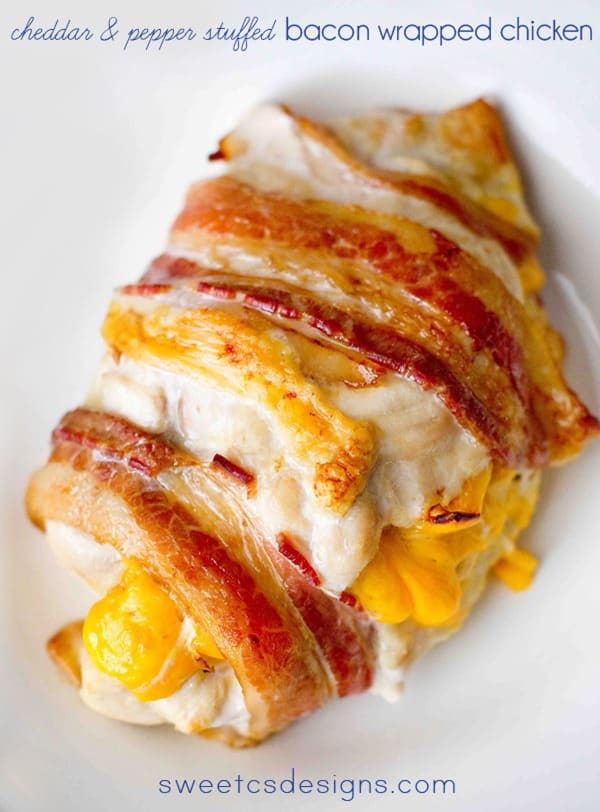 Cheddar and Pepper Stuffed Bacon Wrapped Chicken from Sweet C's Designs