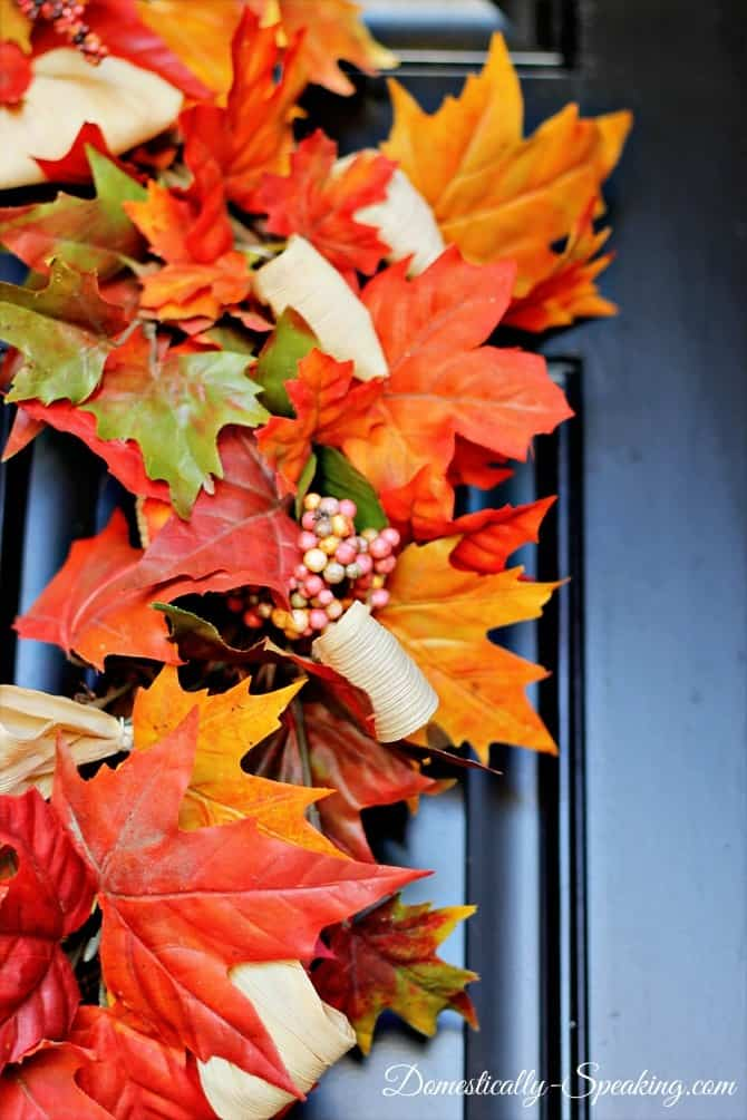 Easy Fall Wreath: Grapevine, faux leaves and corn husk