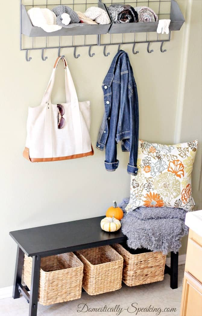 Mini mudroom homegoods giveaway domestically speaking - Coat rack for small spaces design ...