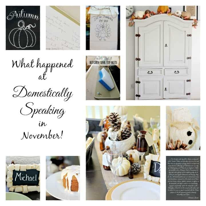 Projects, Recipes and Freebies in November at Domestically Speaking