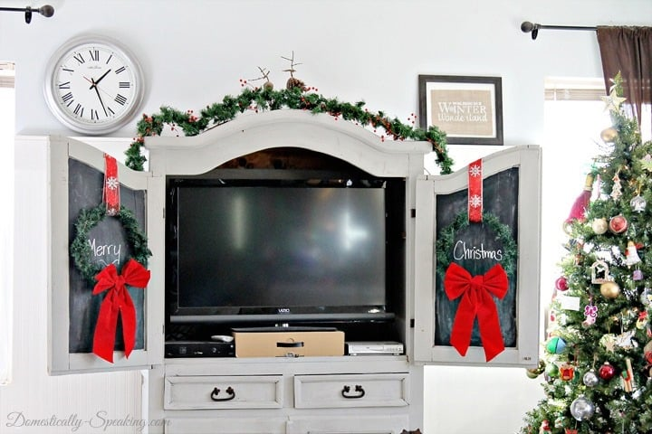 Christmas Home Tour Chalkboard Armoire with Wreaths