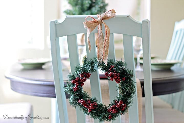 Christmas Home Tour Dollar Tree Wreath jazzed up with berries and burlap