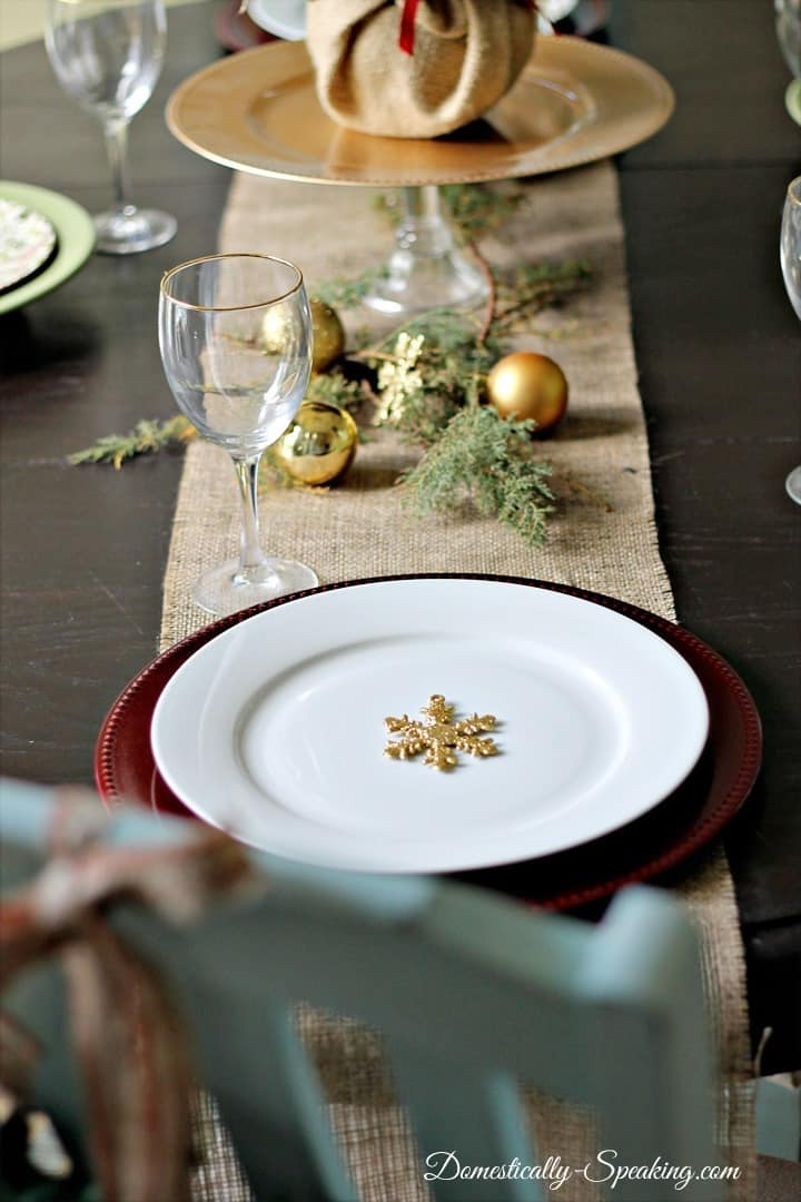 Simple rustic glam Christmas tablescape