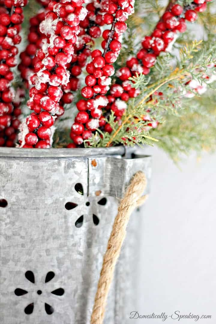 Galvanized Bucket with Berries and Greenery ~ Rustic Glam Mantel