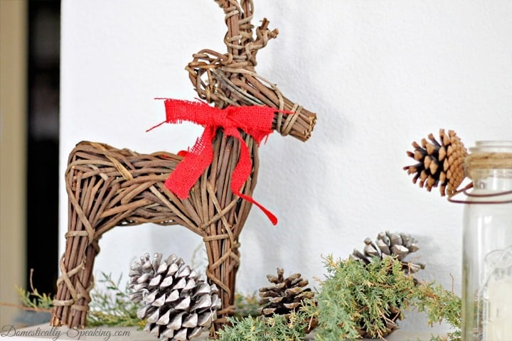 Stick Reindeer with a red burlap bow
