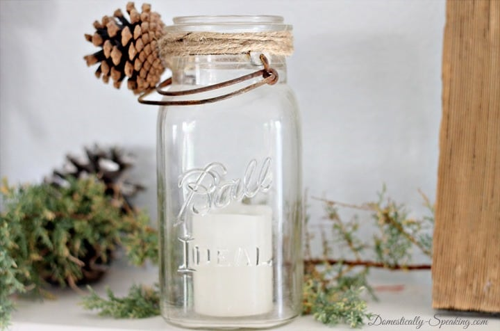 Christmas Home Tour Pinecone and Twine Wrapped Mason Jar