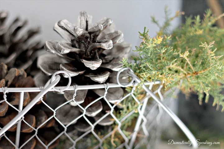 Looking Glass Spray Paint Pinecones ~ Rustic Glam Mantel