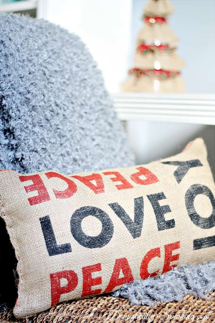 Christmas Home Tour Pottery Barn Inspired Peace Love Joy Burlap Pillow