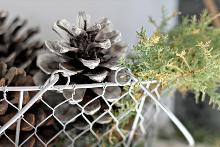 Looking Glass Spray Painted Pinecones ~ Rustic Glam Christmas Mantel