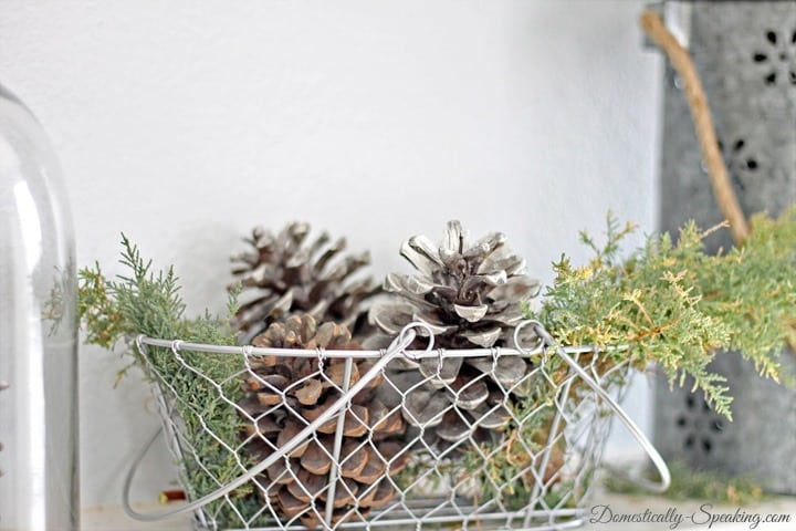 Looking Glass Spray Paint Pinecones ~ Rustic Glam Christmas Mantel