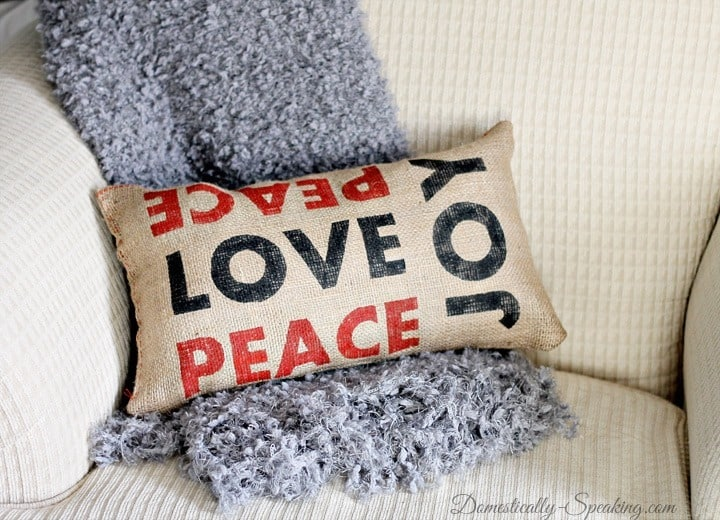 Peace Love Joy Burlap Pillow Inspired by Pottery Barn