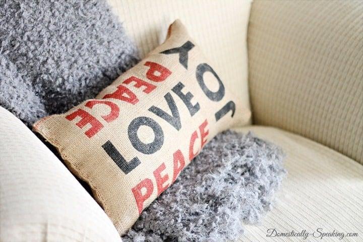 Peace Love Joy Burlap Pillow Inspired by Pottery Barn