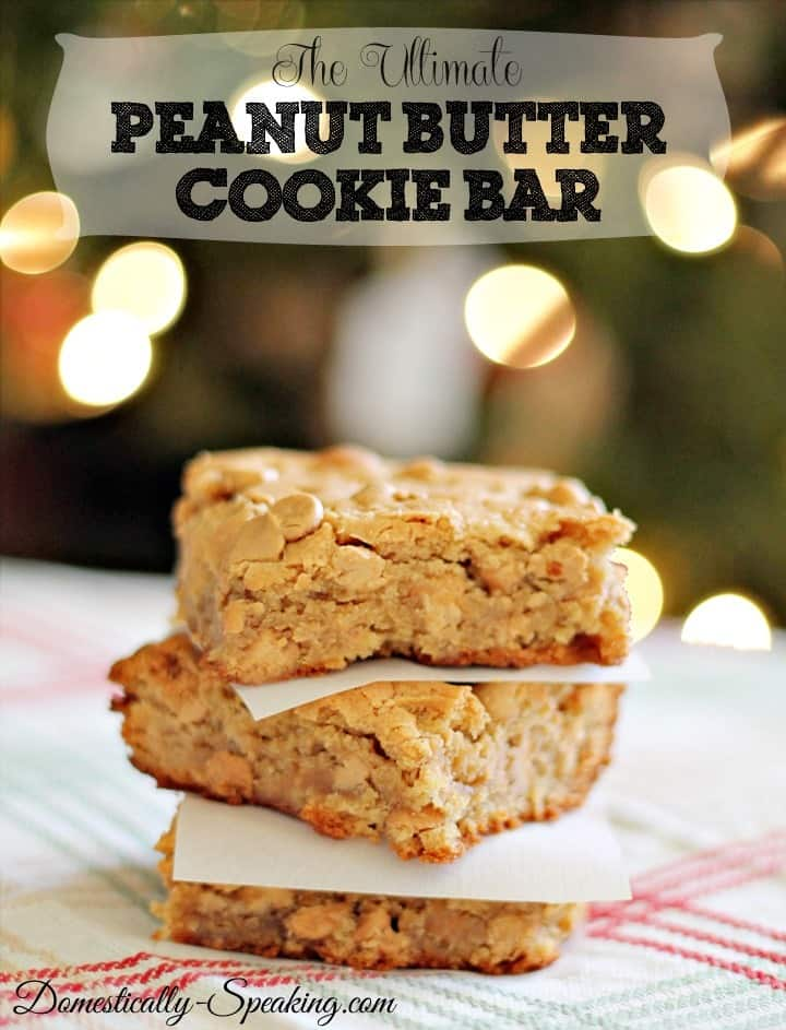 The Ultimate Peanut Butter Cookie Bars - Domestically Speaking