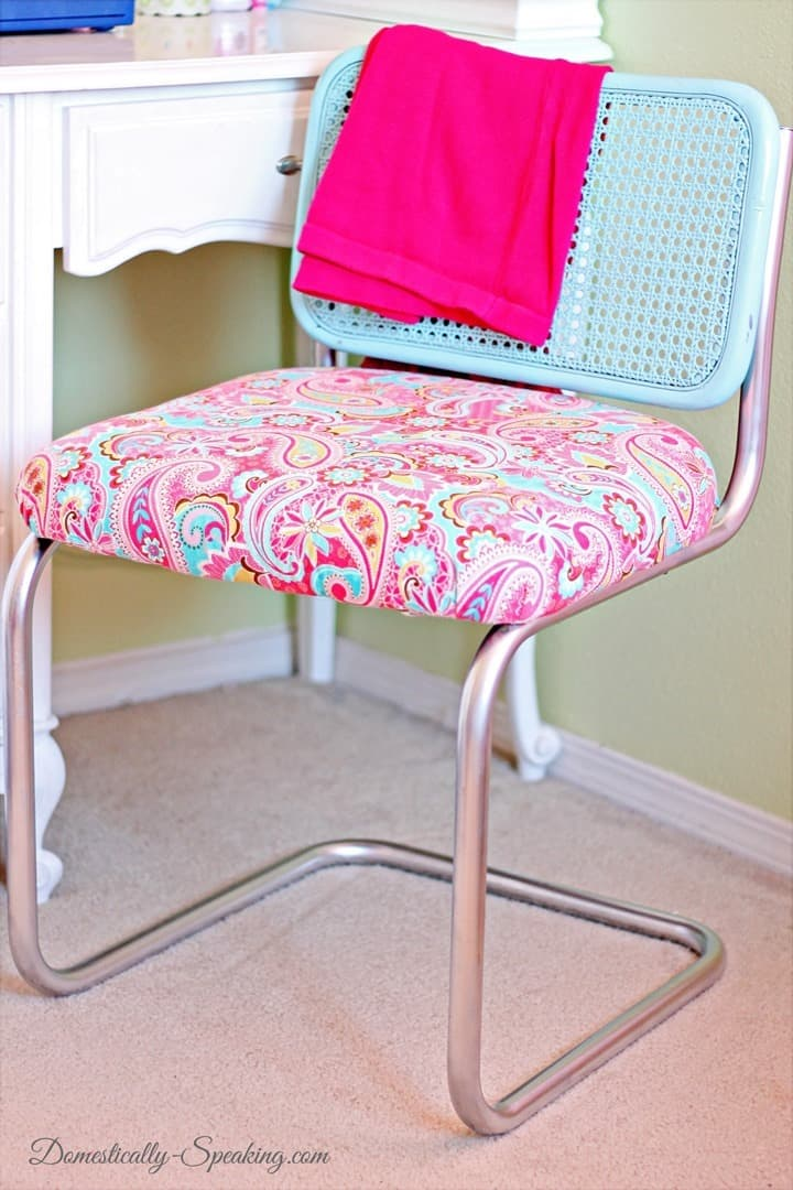 Chair Makeover with Paint and Fabric