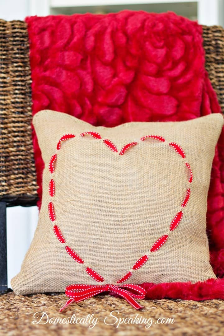 Burlap and Ribbon Heart Pillow