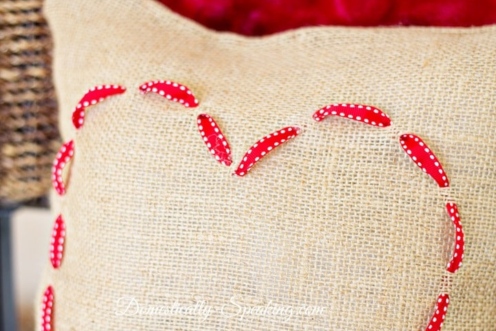 burlap and ribbon valentines heart pillow - Valentine Pillow