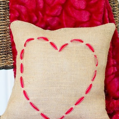 Valentine Pillow ~ Burlap and Ribbon Heart