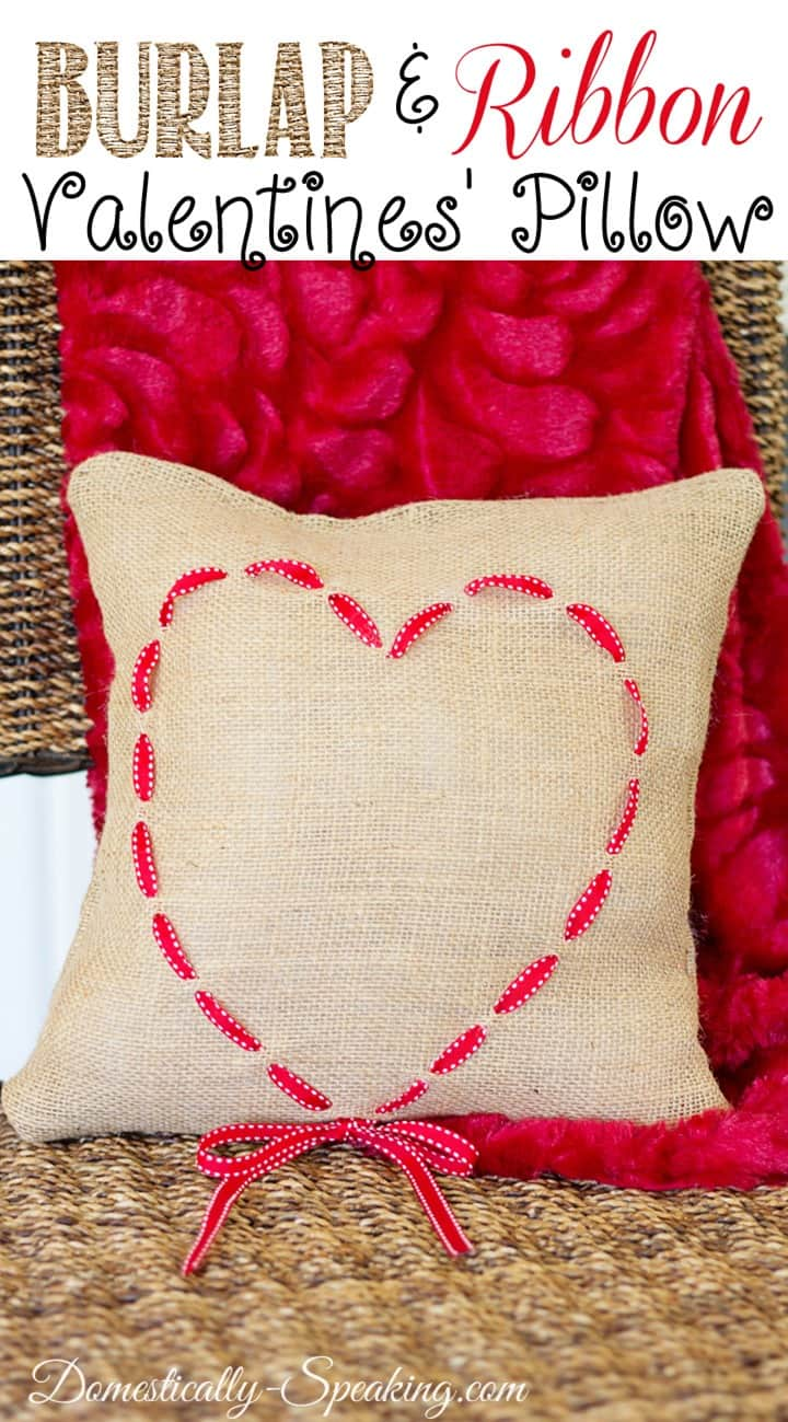 Burlap and Ribbon Valentine's Heart Pillow
