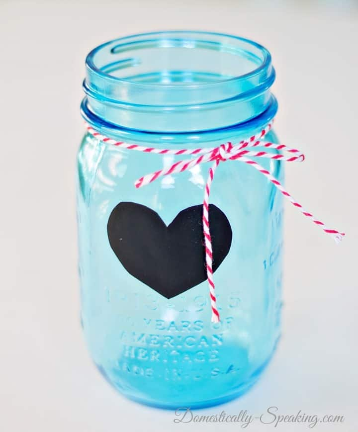 Love Notes with Vintage Blue Mason Jar, Baker's Twine and Chalkboard Vinyl