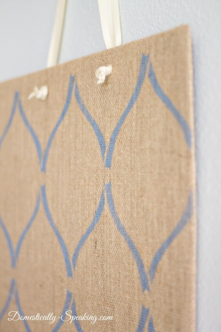 Diy Stenciled Burlap Magnetic Board Domestically Speaking